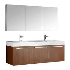 "Vista 60"" Teak Wall Hung Double Sink Modern Bathroom Vanity, FFT1046BN"