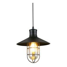 LNC Retro Style Transtitonal Black Mini Metal Wire Cage Ceiling Pendant Light