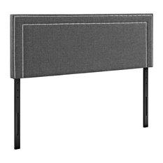 Modern Contemporary Urban Bedroom Queen Size Headboard Gray Gray Fabric Wood