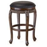 Hillsdale - Fleur de Lis Backless Swivel Counter Stool - Sold As Set of 1. Classic, elegant, and majestic, the Fleur de Lis backless stool is all of this and more. This swivel stool has a warm cherry finish with golden highlights and black leather seat. Warm cherry finish with golden highlights.