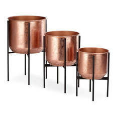 Imax Set Of 3 Marcel Copper Foil Planters With Foldable Stands Z75203-3