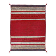 ANDES Ruby Hand Made Cotton Chenille Area Rug, Red, 2'x3'