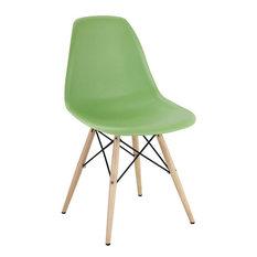 Modern Eiffel Side Chair Wood Dowel Base, Green