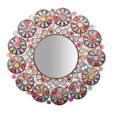 Jewelled Wall Mirror, Round, 75x75 cm