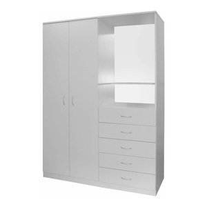 Wardrobe, MDF With Mirror, 2-Door and 5-Drawer Compartments, Modern Style