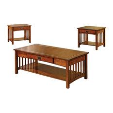 Seville Elegantly Designed 3 Piece Table Set, Antique Oak