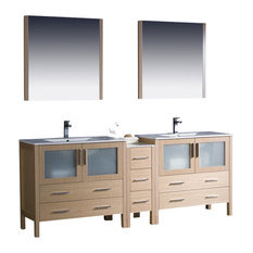 "Torino 84"" Light Oak Double Sink Vanity, Side Cabinet and Tartaro Chrome Faucet"