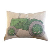 "Green Tractor Burlap Pillow, 12""x16"""