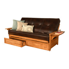 Mesa Frame Futon With Butternut Finish, Storage Drawers, Oregon Trail Java