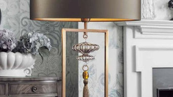 Heathfield & Co Constance Antique Brass Smoke Table Lamp