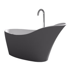 ADM Slippered Freestanding Bathtub, Glossy Gray/White, 66.7""