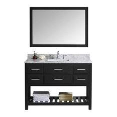 48-inch Single Bath Vanity In EspressoMarble TopSquare SinkFaucetMirror