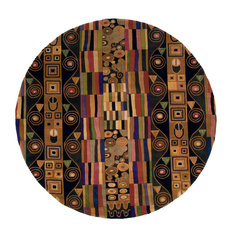 """New Wave Hand-Tufted Rug, Black, 5'9""""x5'9"""" Round"""