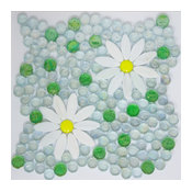 Water Lilly White Flowers Yellow, Aqua and Green Iridescent Glass, Full Sheet