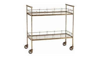 Lisbon Vintage Brass/Glass Bar Cart