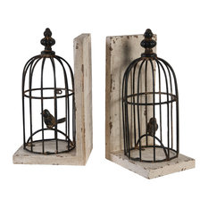 Antiqued Bird Cage Bookends, Set of 2