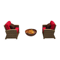 Cypress 2 Piece Modern Outdoor Chat Set, Flagship Ruby Cushions