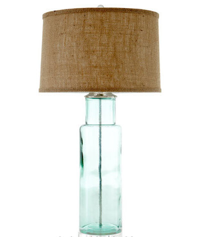 Contemporary Table Lamps Green Glass Lamp
