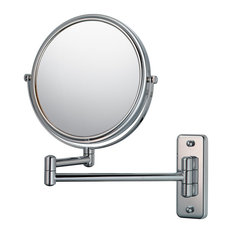 Double Arm Wall Mirror With 5x and 1x Magnification, Chrome