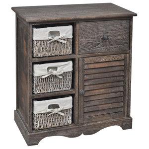 VidaXL Brown Wooden Cabinet 3 Left Weaving Baskets