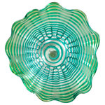 """Dale Tiffany - Waterfront Hand Blown Art Glass Wall Decor, 16""""D - Our Waterfront Series features Favrile Art Glass plates with delightfully scalloped edges. This 16"""" lovely plate has a sea of green swirl color that begins at the center and swirls outward to the plate's rim. A series of U-shaped lines of the same sea green bisect the swirls for an outstanding visual effect that will add a spectacular splash of color to any room of your home. Each includes a hanging bracket for wall use. You can also use them as a plate for decorative centerpiece on a dining or occasional table."""