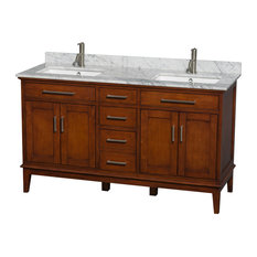 "60"" Double Bathroom Vanity, White Carrera Marble Countertop, Sink"