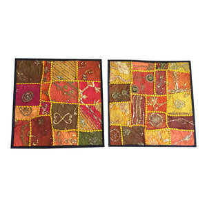 Mogulinterior - Consigned, Indian Cushion Covers Vintage Patchwork Decorative Toss Pillow Shams - Pillowcases And Shams