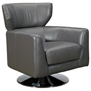 Paloma Grey Leather Swivel Armchair