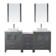 "Dior 66"" Double Bathroom Vanity Cabinet Set, Zebra Gray"