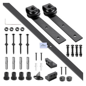6' Sliding Barn Door Hardware Track Rail Kit for Wooden Door, Black