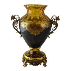 Curvy Glass Vase With Handles Centerpiece