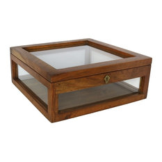 Antique Style Solid Wood Tabletop Display Case | Square Glass Hinge Top Classic