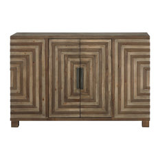 Midcentury Modern Pieced Wood Console Cabinet, Geometric Table Squares