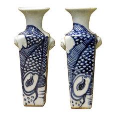 Pair Miniature Chinese Blue & White Porcelain Graphic Square Vases Hcs3748