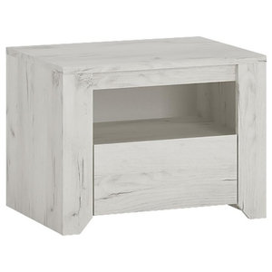 Angel Bedside Table With Drawer, Whitewashed Oak