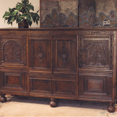 Old English Hand Carved Entertainment Center