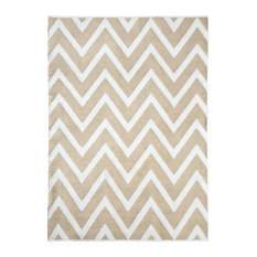Stockholm Jute and White Cotton Chevron Dhurrie Rug, 5'x8'