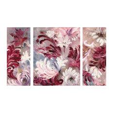 """""""Mauve Flowers"""" Canvas Triptych, 75x120 cm"""
