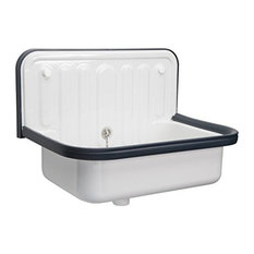 Wall Mounted Service / Utility Sink, White with Navy Trim, Bucket Sink
