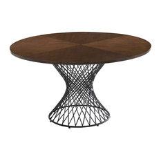 Modrest Theresa Modern Round Walnut and Black Table