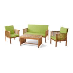 GDF Studio 4-Piece Caresta Outdoor Acacia and Light Green Cushions Sofa Set