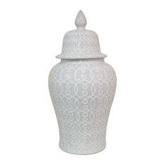 """Three Hands Ceramic Temple Jar, White, 33"""""""