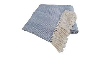 Savannah Cotton Throw, Light Blue, Hand-Knotted Fringe
