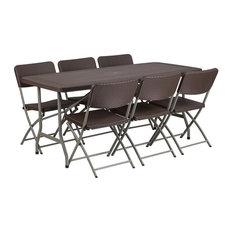 Flash Furniture   32.5u0027u0027Wx67.5u0027u0027L Brown Rattan Plastic Folding
