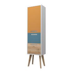 Malmö Freestanding Bathroom Cabinet, Saffron Yellow, Aqua and Beech, Small