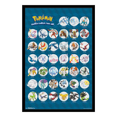 Pokemon Legendary Poster, Black Framed Version