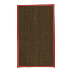 Natural Area Rugs Chateau Sisal Rug, Red Border, 2.5'x8'