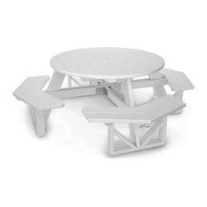 "Polywood Park 53"" Octagon Table, White"