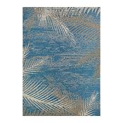 """Couristan Monaco Tropical Palms Indoor/Outdoor Area Rug, Ocean, 7'6""""x10'9"""""""
