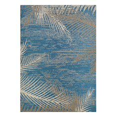 "Couristan Monaco Tropical Palms Indoor/Outdoor Area Rug, Ocean, 5'3""x7'6"""